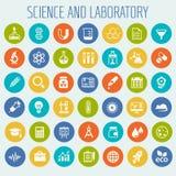 Επιστήμη και σύνολο εργαστηριακών εικονιδίων Στοκ εικόνες με δικαίωμα ελεύθερης χρήσης
