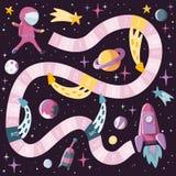 Επιστήμη παιδιών ύφους κινούμενων σχεδίων και διαστημικό επιτραπέζιο παιχνίδι με τον αστροναύτη, πύραυλος, planents, σπούτνικ Σχέ διανυσματική απεικόνιση