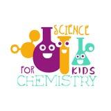 Επιστήμη χημείας για το σύμβολο λογότυπων παιδιών Ζωηρόχρωμη συρμένη χέρι ετικέτα ελεύθερη απεικόνιση δικαιώματος