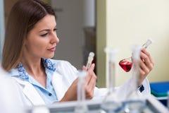 Επιστήμονας γυναικών που πραγματοποιεί το πείραμα στο ερευνητικό εργαστήριο Στοκ εικόνα με δικαίωμα ελεύθερης χρήσης