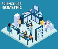 Επιστήμονας που εργάζεται σε ένα Isometric έργο τέχνης εργαστηρίων επιστήμης διανυσματική απεικόνιση