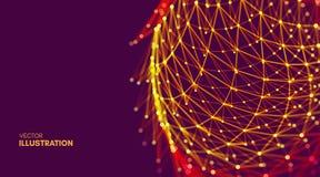 Επιστημονική απεικόνιση με τις συνδεδεμένα γραμμές και τα σημεία Φωτεινές μικροσκοπικές μορφές Πλέγμα πυράκτωσης Δομή σύνδεσης Στοκ φωτογραφία με δικαίωμα ελεύθερης χρήσης