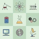 Επιστημονικό σύνολο εργαστηριακών επίπεδο εικονιδίων Στοκ Φωτογραφία