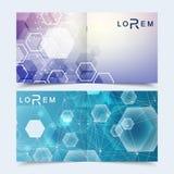 Επιστημονικό τετραγωνικό φυλλάδιο προτύπων, περιοδικό, φυλλάδιο, ιπτάμενο, κάλυψη, βιβλιάριο, ετήσια έκθεση Επιστημονική έννοια γ Στοκ Εικόνες