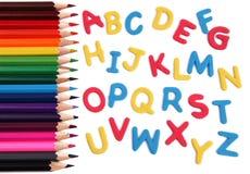 Επιστολές αλφάβητου με τα μολύβια Στοκ φωτογραφία με δικαίωμα ελεύθερης χρήσης