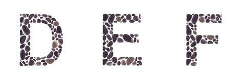 Επιστολές Δ, Ε και Φ φιαγμένες από πέτρες που απομονώνονται στο άσπρο υπόβαθρο στοκ φωτογραφίες