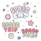 Επιστολές κινούμενων σχεδίων Kawaii, η διαστημική γάτα επιγραφής, διαστημικό ταξίδι, διαστημική πτήση στοκ εικόνα με δικαίωμα ελεύθερης χρήσης