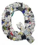 Επιστολές που γίνονται από την εφημερίδα capitel Q Στοκ εικόνα με δικαίωμα ελεύθερης χρήσης