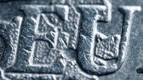 Επιστολές της ΕΕ Minted στο ευρο- νόμισμα Έξοχος μακρο πυροβολισμός Στοκ φωτογραφία με δικαίωμα ελεύθερης χρήσης