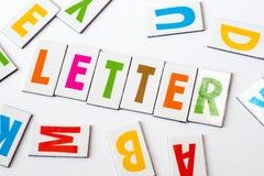 Επιστολή λέξης φιαγμένη από ζωηρόχρωμες επιστολές Στοκ φωτογραφία με δικαίωμα ελεύθερης χρήσης