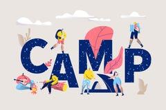 Επιστολή τύπων εμβλημάτων του Word στρατόπεδων Οριζόντια αφίσα στρατόπεδων με το σχέδιο χαρακτήρων για την τυπωμένη ύλη Διακοπές  ελεύθερη απεικόνιση δικαιώματος