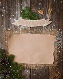 Επιστολή Χριστουγέννων, κατάλογος, συγχαρητήρια σε ένα ξύλινο υπόβαθρο ελεύθερου χώρου, νέο έτος προτύπων στοκ εικόνα με δικαίωμα ελεύθερης χρήσης