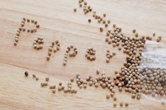 Επιστολές αλφάβητου πιπεριών στο επιτραπέζιο ξύλο προκειμένου να περιγραφεί τι αυτό το καρύκευμα είναι Στοκ Εικόνα