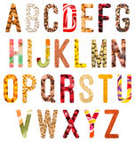 Επιστολές αλφάβητου τροφίμων που απομονώνονται Στοκ φωτογραφίες με δικαίωμα ελεύθερης χρήσης