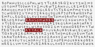 Επιστολές με την τονισμένη ΕΠΊΘΕΣΗ λέξεων RANSOMWARE Απεικόνιση αποθεμάτων