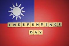 Επιστολές με τη ημέρα της ανεξαρτησίας κειμένων στη εθνική σημαία της Ταϊβάν Στοκ φωτογραφίες με δικαίωμα ελεύθερης χρήσης