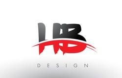 Επιστολές λογότυπων βουρτσών HB Χ Β με το κόκκινο και μαύρο μέτωπο βουρτσών Swoosh Στοκ Εικόνα