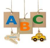 Επιστολές ABC στην ετικέτα χαρτονιού Λογότυπο αλφάβητου που απομονώνεται Στοκ Εικόνες