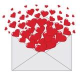Επιστολή αγάπης με το έμβλημα καρδιών Valentines.Vertical Στοκ Φωτογραφίες
