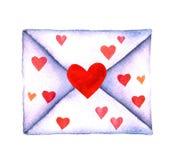 Επιστολή αγάπης σε έναν φάκελο που χρωματίζεται στο watercolor σε ένα άσπρο υπόβαθρο που απομονώνεται Φάκελος με τις καρδιές Ημέρ Στοκ Εικόνες