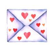 Επιστολή αγάπης σε έναν φάκελο που χρωματίζεται στο watercolor σε ένα άσπρο υπόβαθρο που απομονώνεται Φάκελος με τις καρδιές Ημέρ Στοκ εικόνα με δικαίωμα ελεύθερης χρήσης