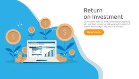 επιστροφής επένδυση ROI ή έννοια επιχειρησιακής χρηματοδότησης αύξησης τέντωμα κέρδους αύξησης που αυξάνεται επάνω επίπεδη διανυσ απεικόνιση αποθεμάτων