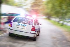 Επιταχυνόμενο περιπολικό της Αστυνομίας Στοκ Φωτογραφία