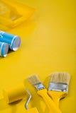 επιτραπέζια εργαλεία χρωμάτων κίτρινα Στοκ εικόνες με δικαίωμα ελεύθερης χρήσης
