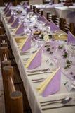 Επιτραπέζια ρύθμιση γαμήλιου συμποσίου Στοκ Εικόνες