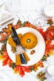 Επιτραπέζια ρύθμιση ημέρας των ευχαριστιών στοκ εικόνες