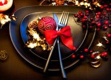 Επιτραπέζια ρύθμιση Χριστουγέννων Στοκ φωτογραφία με δικαίωμα ελεύθερης χρήσης