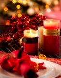 Επιτραπέζια τιμή τών παραμέτρων Χριστουγέννων Στοκ φωτογραφίες με δικαίωμα ελεύθερης χρήσης