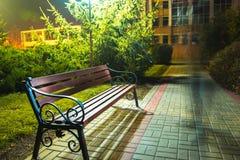 επιτραπέζια χρήση φωτογραφιών νύχτας τοπίων εγκαταστάσεων εικόνας ανασκόπησης όμορφη Πάγκος στην αλέα κάτω από τα φανάρια Στοκ Φωτογραφία