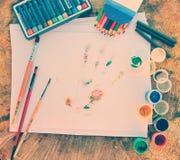 Επιτραπέζιος καλλιτέχνης στο χρώμα υπαίθρια Στοκ φωτογραφία με δικαίωμα ελεύθερης χρήσης