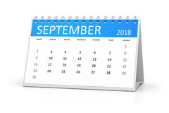 Επιτραπέζιο ημερολόγιο 2018 Σεπτέμβριος διανυσματική απεικόνιση