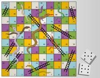 Επιτραπέζιο παιχνίδι φιδιών και σκαλών διανυσματική απεικόνιση