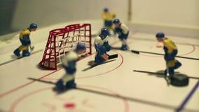 Επιτραπέζιο παιχνίδι χόκεϋ πάγου επίθεσης απόθεμα βίντεο