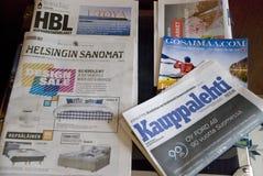 Επιτραπέζιο σύνολο των φινλανδικών εφημερίδων, μέσο εκτύπωσης Στοκ φωτογραφία με δικαίωμα ελεύθερης χρήσης