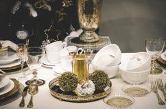 επιτραπέζιο τύλιγμα διακοσμήσεων Χριστουγέννων κεριών Στοκ εικόνες με δικαίωμα ελεύθερης χρήσης