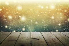 Επιτραπέζιο υπόβαθρο Χριστουγέννων Ξύλινη ανασκόπηση Στοκ Εικόνα
