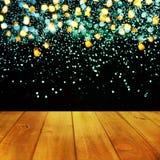 Επιτραπέζιο υπόβαθρο Χριστουγέννων Ξύλινη ανασκόπηση Στοκ Φωτογραφίες
