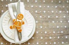 Επιτραπέζιο settin Χριστουγέννων Στοκ εικόνα με δικαίωμα ελεύθερης χρήσης