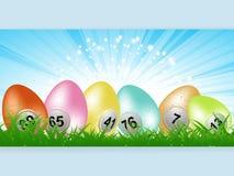 Επιτροπή αυγών λαχειοφόρων αγορών bingo Πάσχας στη χλόη Στοκ εικόνα με δικαίωμα ελεύθερης χρήσης