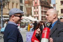 Επιτροπή για την υπεράσπιση των υποστηρικτών δημοκρατίας που διαμαρτύρονται σε Wroclaw Στοκ Φωτογραφία