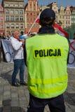 Επιτροπή για την υπεράσπιση των υποστηρικτών δημοκρατίας που διαμαρτύρονται σε Wroclaw Στοκ Εικόνες