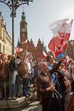 Επιτροπή για την υπεράσπιση των υποστηρικτών δημοκρατίας που διαμαρτύρονται σε Wroclaw Στοκ Φωτογραφίες