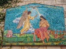 Επιτροπή μωσαϊκών - Virgin Mary και άγγελος, βασιλική Annunciation στη Ναζαρέτ, Ισραήλ Στοκ Φωτογραφίες