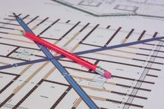 Επιτροπή σχεδιασμού με το μολύβι Στοκ εικόνα με δικαίωμα ελεύθερης χρήσης