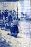 Επιτροπή Azulejo στο σταθμό τρένου Bento Σάο στο Πόρτο Στοκ φωτογραφία με δικαίωμα ελεύθερης χρήσης