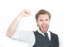 Επιτυχές γενειοφόρο άτομο ή ευτυχής κύριος στο γιλέκο και το δεσμό Στοκ φωτογραφίες με δικαίωμα ελεύθερης χρήσης